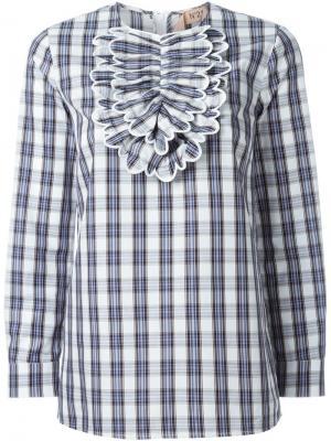 Блузка в клетку с нагрудной панелью Nº21. Цвет: белый