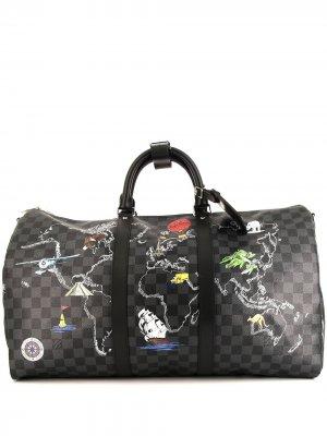 Дорожная сумка Keepall 50 pre-owned Louis Vuitton. Цвет: серый