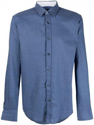 Джинсовая рубашка на пуговицах Boss Hugo. Цвет: синий