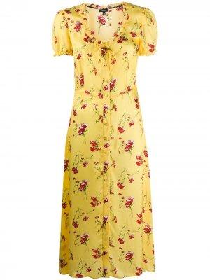 Платье миди с цветочным принтом R13. Цвет: желтый