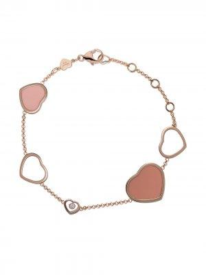 18kt rose gold Happy Hearts rosé stone and diamond bracelet Chopard. Цвет: розовый