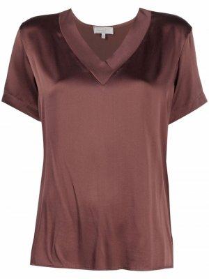 Атласная блузка с V-образным вырезом Antonelli. Цвет: коричневый