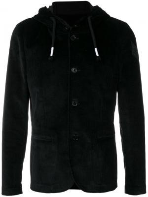Вельветовая куртка с капюшоном Daniele Alessandrini. Цвет: черный