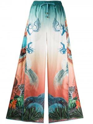 Расклешенные брюки Luna с принтом F.R.S For Restless Sleepers. Цвет: синий