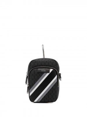 Поясная сумка Metropole с монограммой BOSS. Цвет: черный