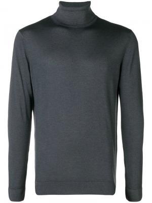 Тонкий вязаный свитер с высоким воротом Altea. Цвет: серый