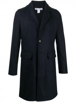 Однобортное пальто длины миди Comme Des Garçons Shirt. Цвет: синий