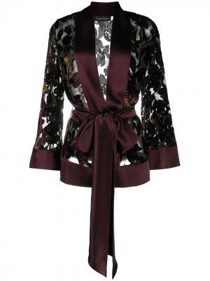 Халат из тюля с бархатным узором и атласными вставками Carine Gilson. Цвет: красный