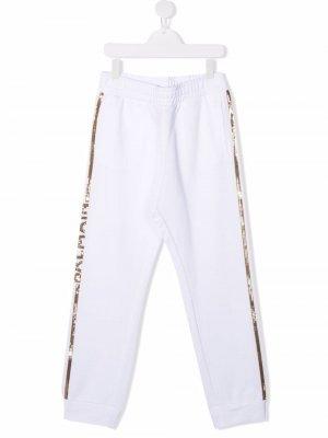 Спортивные брюки с логотипом Balmain Kids. Цвет: белый