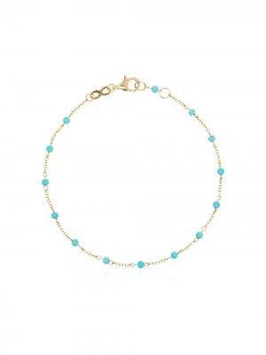 Золотой цепочный браслет с бирюзой Rosa de la Cruz. Цвет: голубой