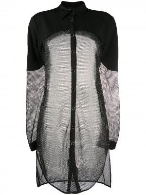 Удлиненная рубашка с блестками Just Cavalli. Цвет: черный