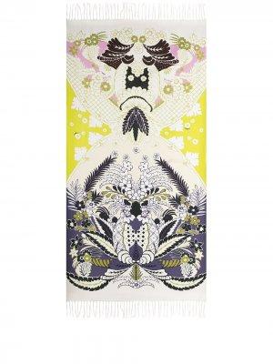 Пляжное полотенце с графичным принтом Valentino. Цвет: белый