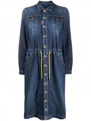 Джинсовое платье-рубашка Dsquared2. Цвет: синий