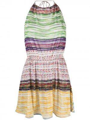 Пляжное платье с вырезом халтер Missoni Mare. Цвет: зеленый