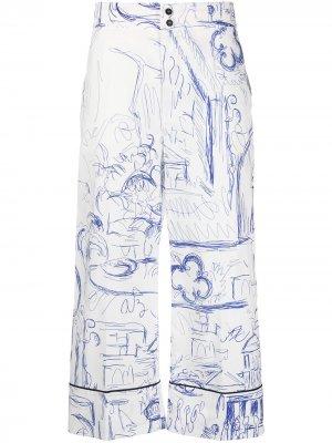 Укороченные брюки с принтом Erika Cavallini. Цвет: белый