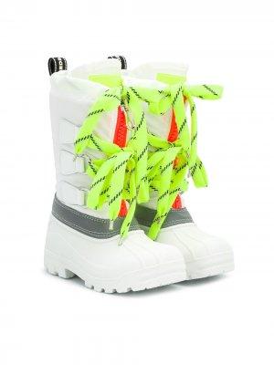 Сапоги со шнуровкой Dsquared2 Kids. Цвет: белый