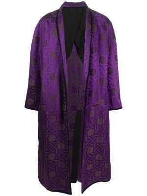 Пальто с геометричным принтом Haider Ackermann. Цвет: фиолетовый
