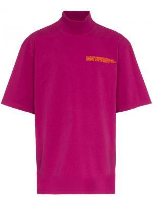 Футболка с высокой горловиной и принтом логотипа Calvin Klein 205W39nyc. Цвет: розовый