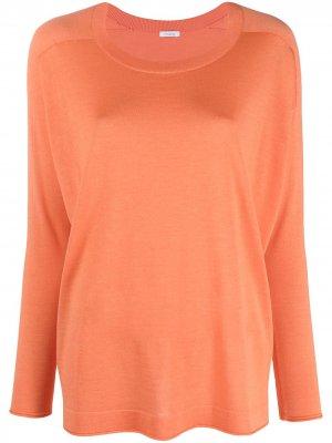 Пуловер с круглым вырезом и перфорацией Malo. Цвет: оранжевый
