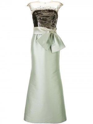 Платье макси с пайетками Sachin & Babi. Цвет: зеленый