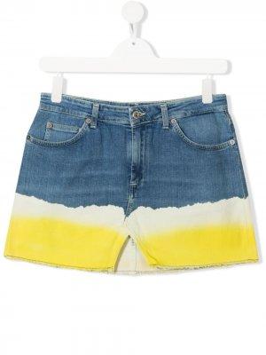 Джинсовая юбка в стиле колор-блок Dondup Kids. Цвет: синий