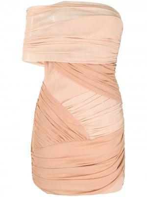 Двухцветное платье мини с драпировкой David Koma. Цвет: нейтральные цвета