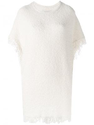 Топ Elasia из ткани букле с бахромой By Malene Birger. Цвет: белый