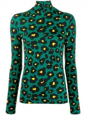 Водолазка с леопардовым принтом La Doublej. Цвет: зеленый