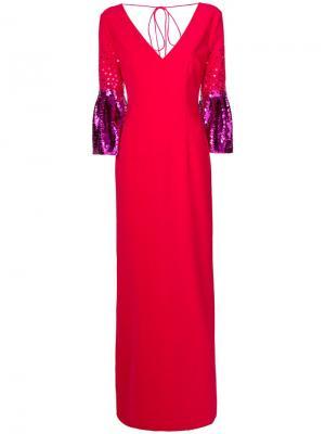 Вечернее платье с контрастной отделкой на рукавах Sachin & Babi. Цвет: красный