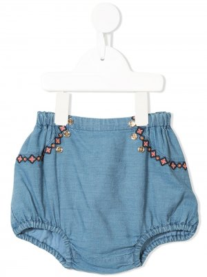 Блумеры Clementine с вышивкой Velveteen. Цвет: синий