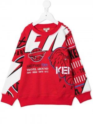 All-over logo-embroidered sweatshirt Kenzo Kids. Цвет: красный