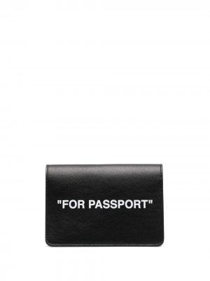 Обложка для паспорта с надписью Off-White. Цвет: черный