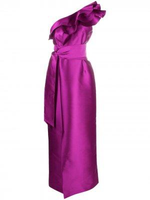 Вечернее платье на одно плечо с оборками Alberta Ferretti. Цвет: розовый