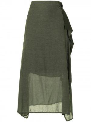 Ys юбка миди асимметричного кроя Y's. Цвет: зеленый