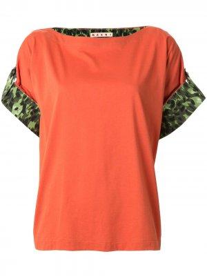 Блузка с камуфляжным принтом на манжетах Marni. Цвет: оранжевый