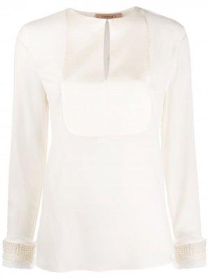 Блузка с искусственный жемчугом TWINSET. Цвет: нейтральные цвета