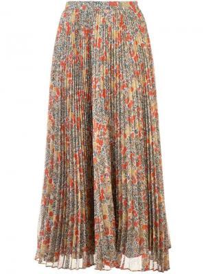 Плиссированная юбка с цветочным принтом Phylicia Alexis. Цвет: красный