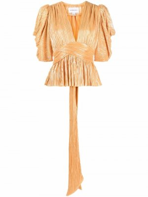 Metallic-effect pleat blouse Sabina Musayev. Цвет: оранжевый
