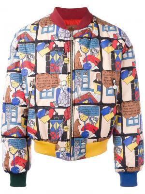 Куртка-бомбер с принтом комиксов Jc De Castelbajac Vintage. Цвет: разноцветный