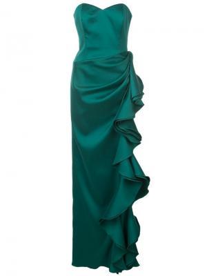 Вечернее платье без бретелей с оборками Badgley Mischka. Цвет: зеленый