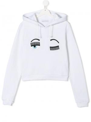 TEEN wink face hoodie Chiara Ferragni Kids. Цвет: белый