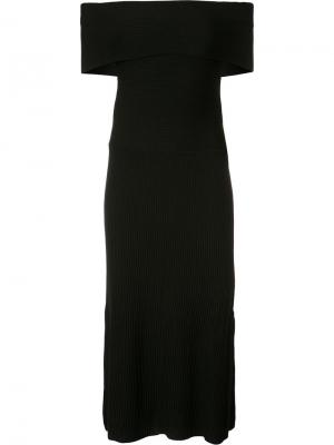 Трикотажное платье с открытыми плечами Elizabeth And James. Цвет: чёрный