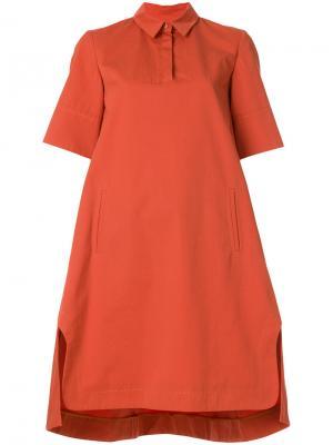 Платье-шифт с воротником Carven. Цвет: желтый