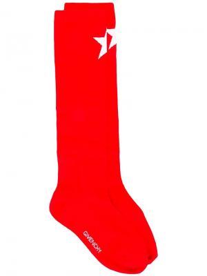 Носки со звездами и логотипами Givenchy. Цвет: красный