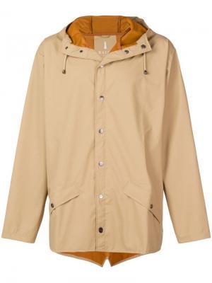 Buttoned hooded coat Rains. Цвет: нейтральные цвета