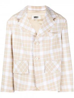 Клетчатый пиджак оверсайз MM6 Maison Margiela. Цвет: нейтральные цвета