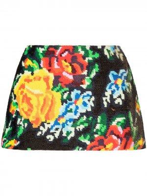 Юбка мини с пайетками и цветочным принтом Ashish. Цвет: черный