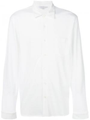Рубашка с длинными рукавами из ткани пике Sunspel. Цвет: белый