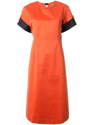 Платье прямого кроя с контрастными вставками Marni. Цвет: оранжевый