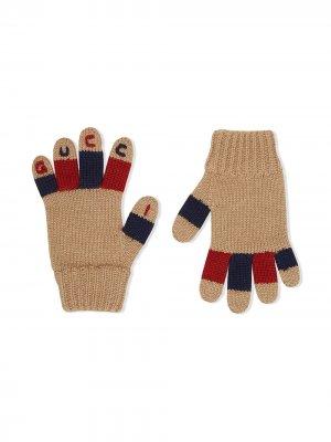 Перчатки с вышитым логотипом Gucci Kids. Цвет: нейтральные цвета
